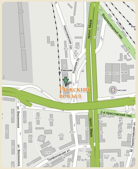 Карта проезда до Рижского вокзала